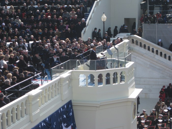 Yes, the radio booth was extremely close to the inaugural podium!