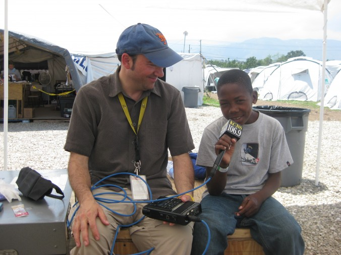 Doug interviews a young survivor of the 2010 Haiti earthquake at an emergency hospital camp in Port au Prince (or really, the kid interviews himself!).