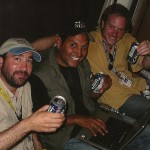 End of a long day covering Hurricane Katrina, with Joe Vasquez & Zack Heene, New Orleans, 2005