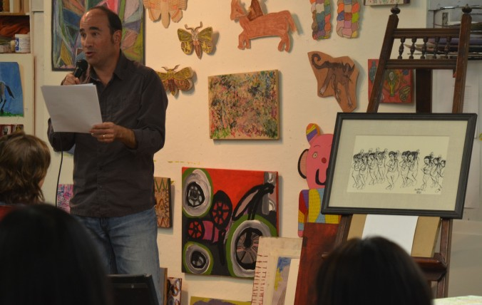 Doug reading an unpublished story inspired by the autistic artist Andrew Li at Creativity Explored Gallery during Litquake