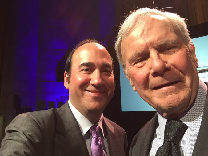 Tom Brokaw shoots a selfie of us at the 2016 duPont-Columbia Awards. Honored to win!