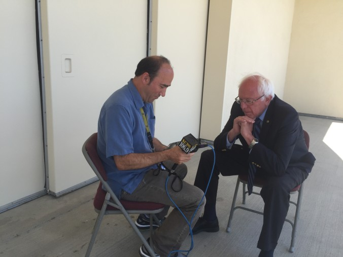 Getting ready to interview Bernie Sanders during the 2016 presidential campaign